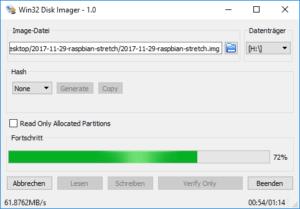Raspbian mit Etcher und Win32DiskImager installieren